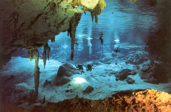 Cenote Dos Ojos map of Scuba diving Cavern Cave in The Riviera Maya